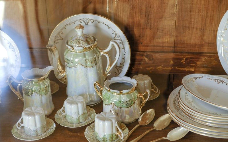 Antique fancy dishes and cutlery